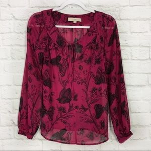 LOFT SM Sheer Pink Floral Butterfly Popover Blouse